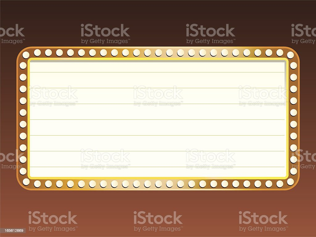 Simple marquee with lights vector art illustration