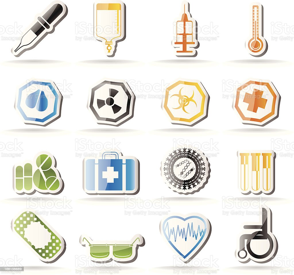 Simple medical themed icons royalty-free stock vector art