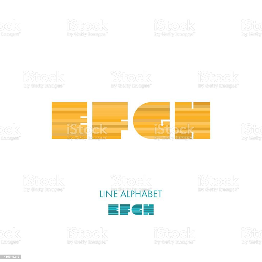 E F G H - Simple Modern Lines Flat Alphabet royalty-free stock vector art