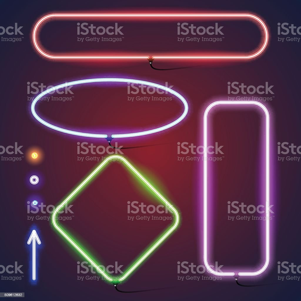 Simple neon frames vector art illustration