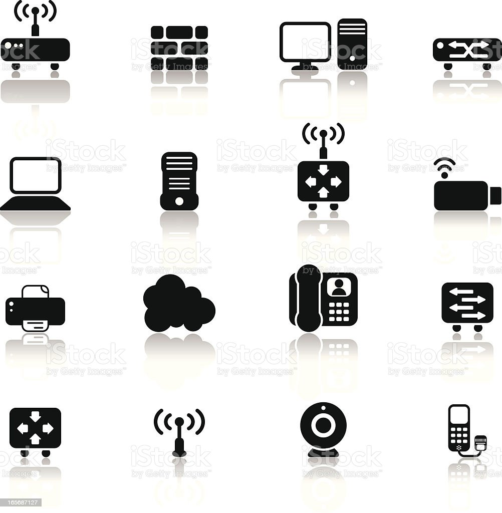 Simple Network Components and Devices with Reflections royalty-free stock vector art