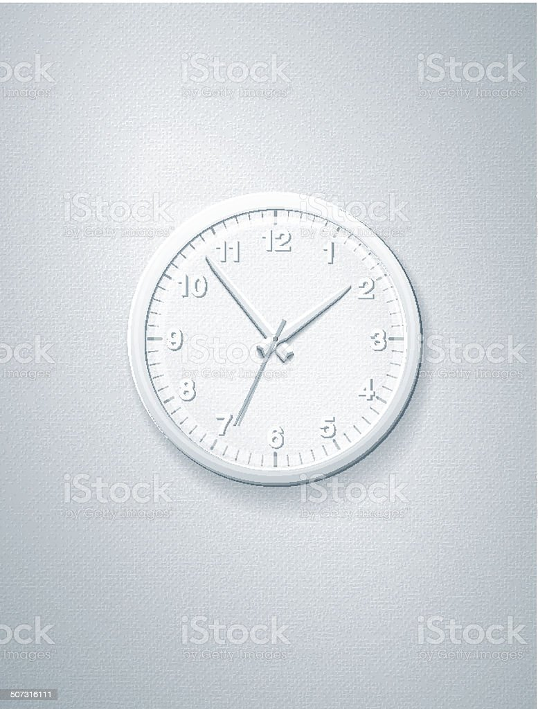Simple Office Clock in the Style of a Paper Collage royalty-free stock vector art