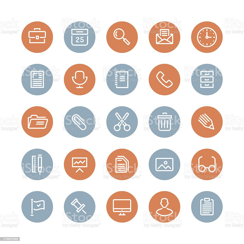 Simple office icon set on white background royalty-free stock vector art
