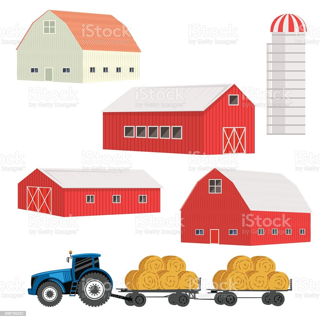 Simple Old Fashioned Red Barn vector art illustration