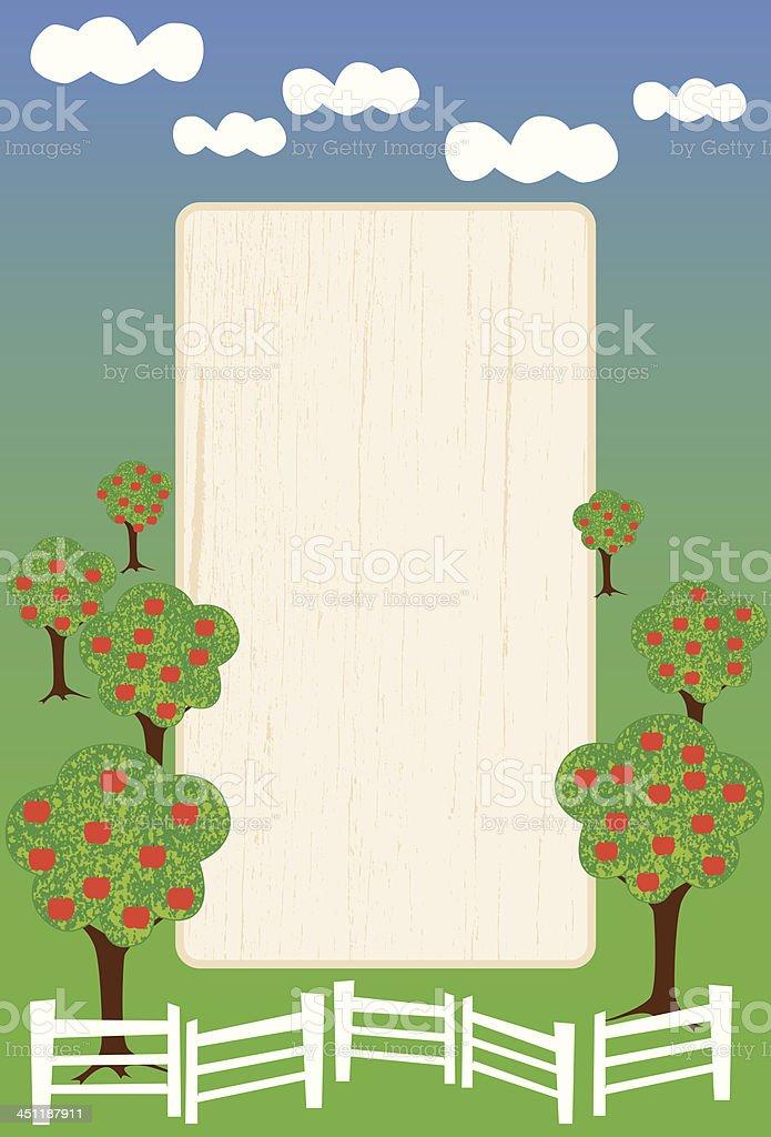 simple orchard frame vector art illustration