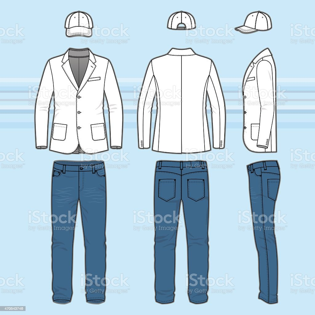 Simple outline drawing of a blazer, jeans and cap vector art illustration