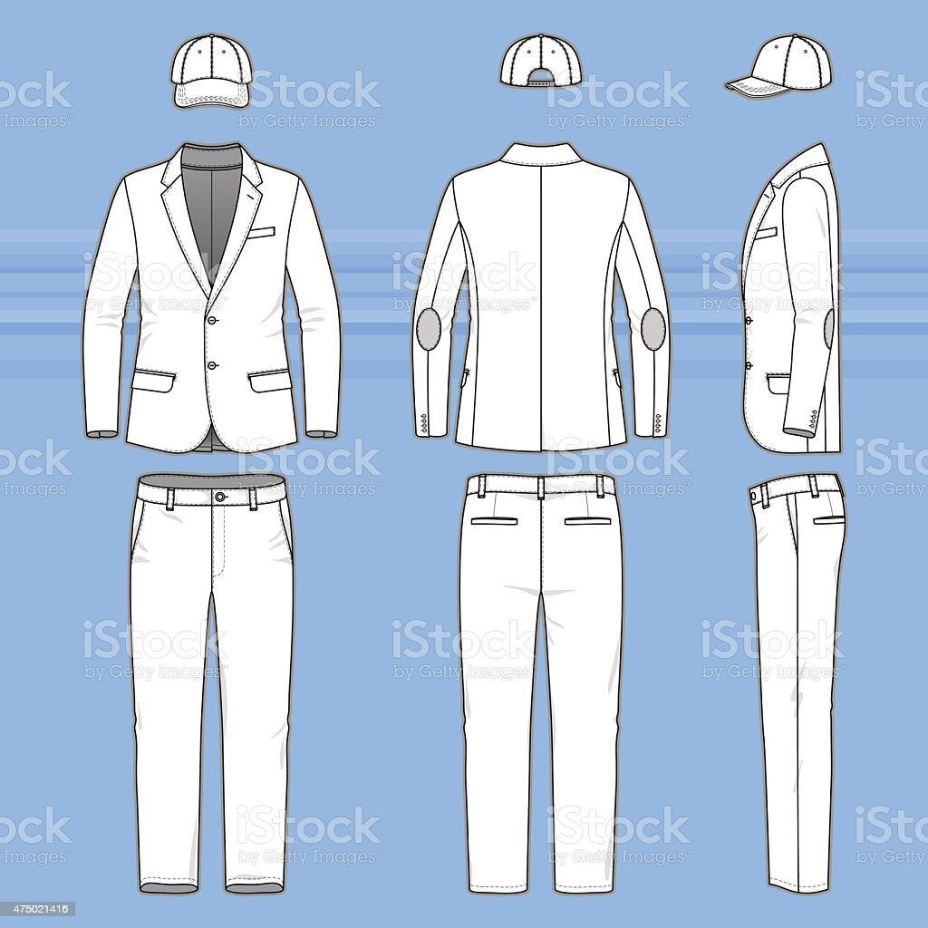 Simple outline drawing of a blazer, pants and cap vector art illustration