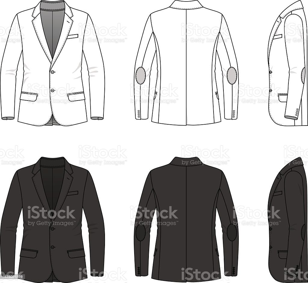 Simple outline drawing of a blazer vector art illustration