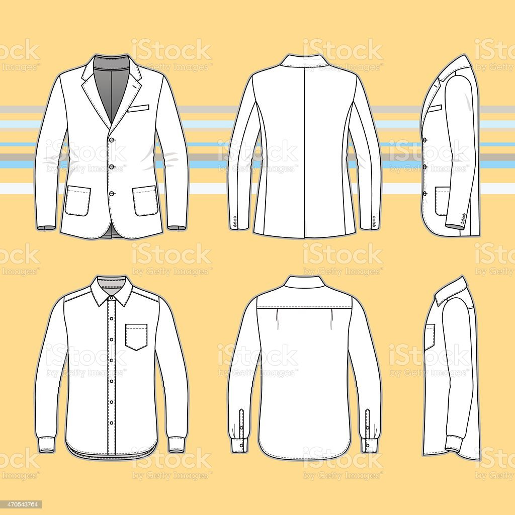 Simple outline drawing of a long sleeves shirt and blazer vector art illustration