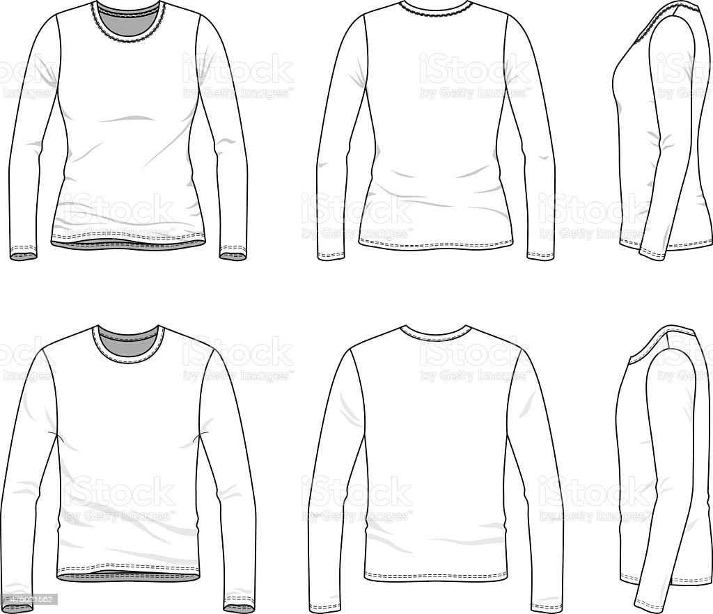 Simple outline drawing of a men's and women's blank tee vector art illustration