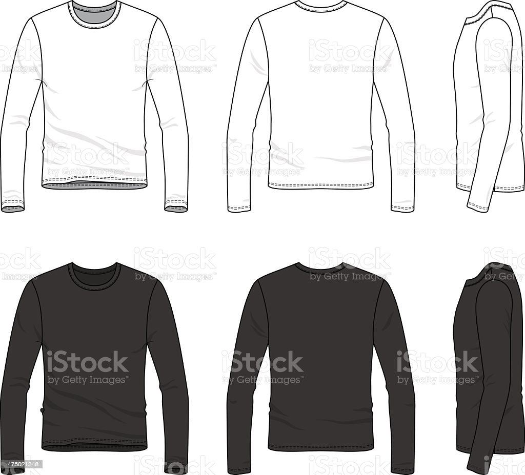 Simple outline drawing of a men's blank tee vector art illustration