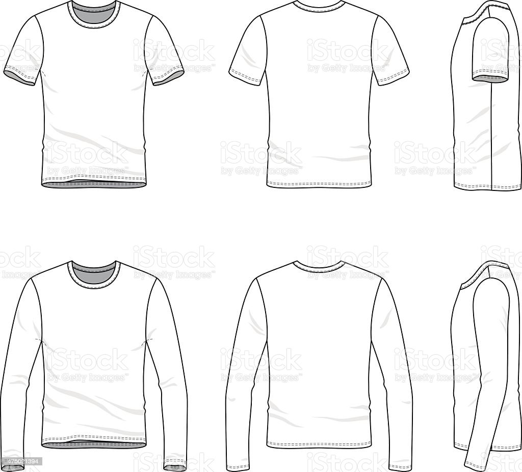 Simple outline drawing of a men's blank t-shirt and tee vector art illustration