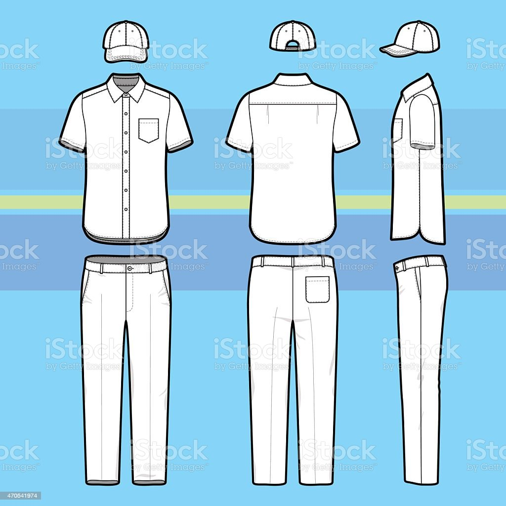 Simple outline drawing of a shirt, pants and cap vector art illustration