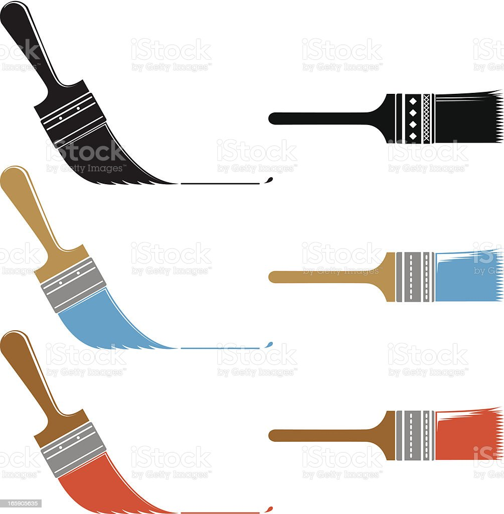 Simple Paintbrush Icons Set of Three Angle and Straight Brushes vector art illustration