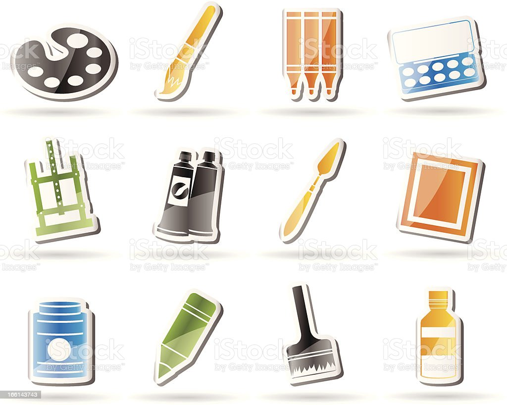 Simple painter, drawing and painting icons royalty-free stock vector art