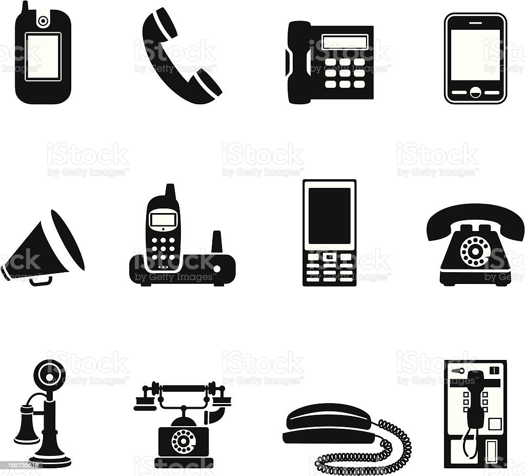 Simple Phone Icons vector art illustration