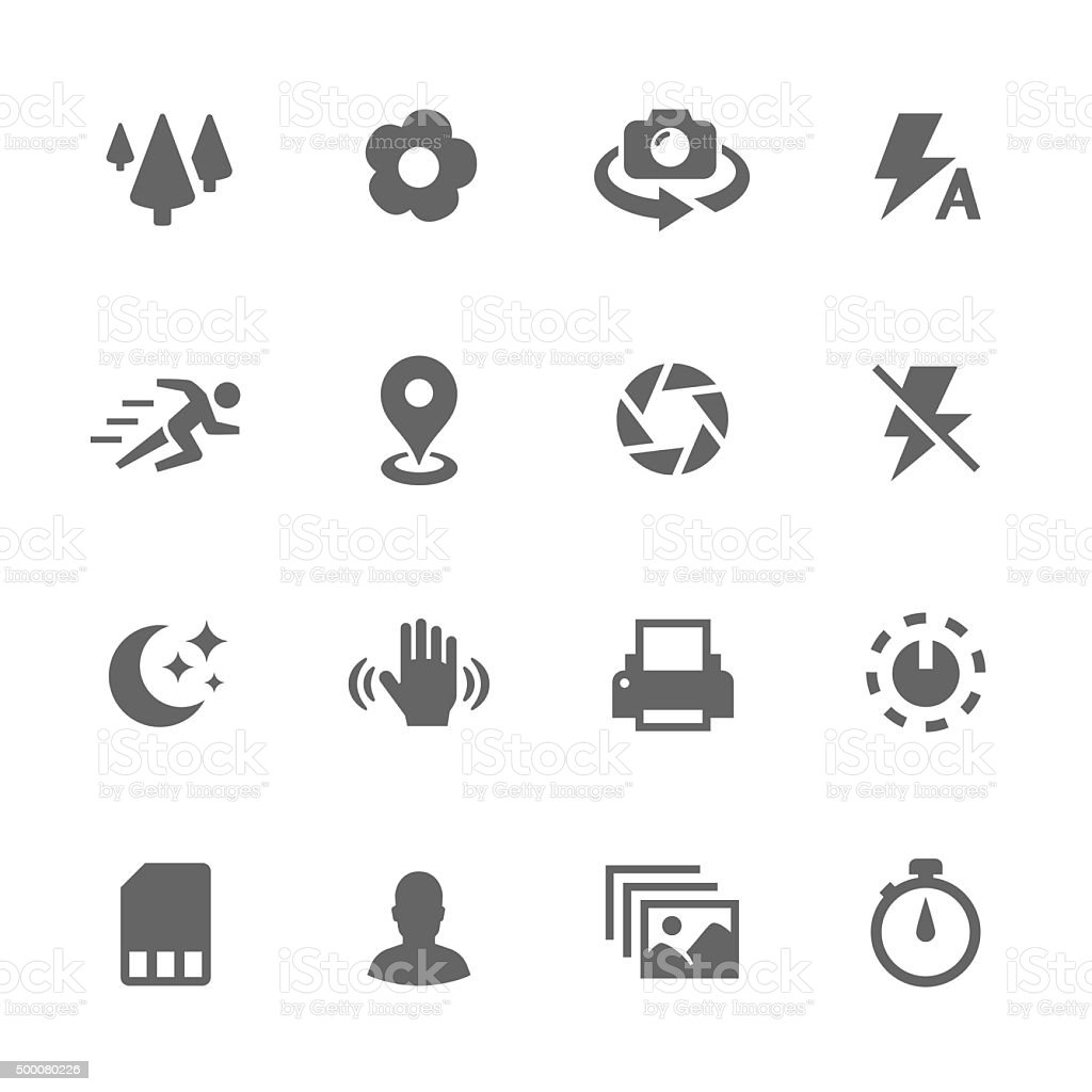 Simple Photo Mode Icons. vector art illustration