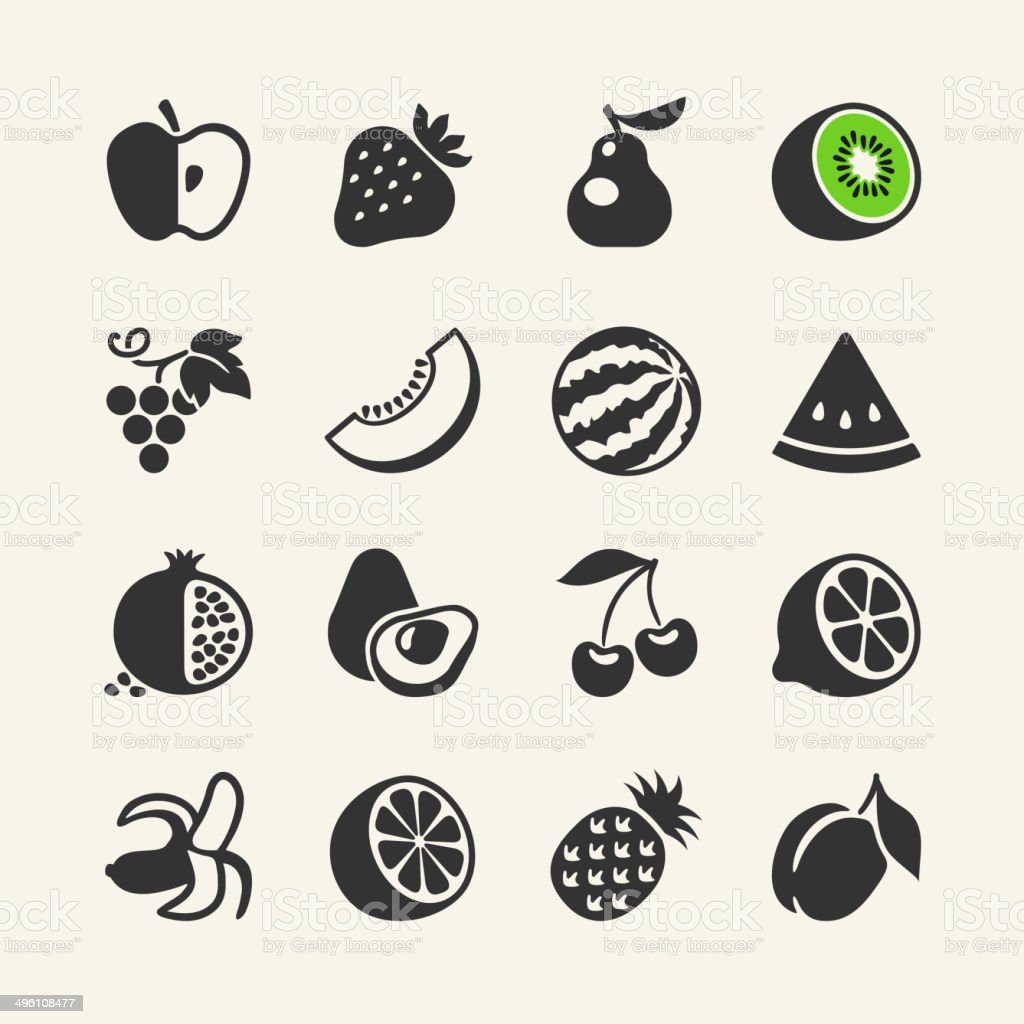 Simple pictograms collection - fruits and berries vector art illustration