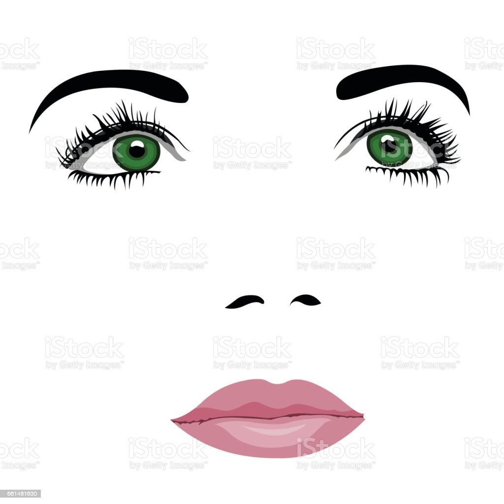 Simple pop art styled woman face with green eyes looking up vector art illustration