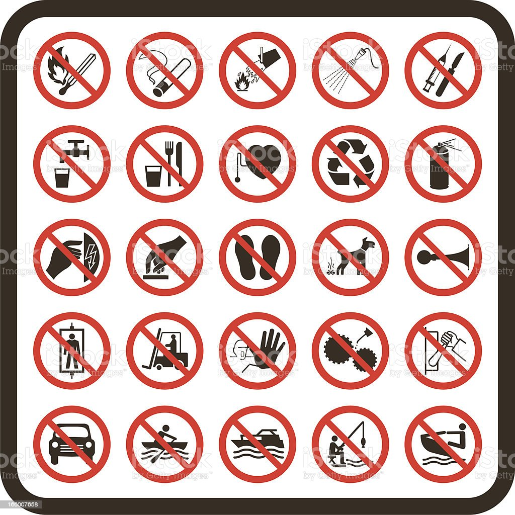 Simple Prohibited Warning Signs royalty-free stock vector art