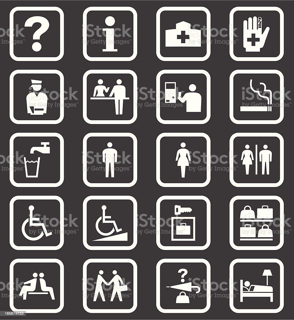 Simple Public Facilities Icons vector art illustration