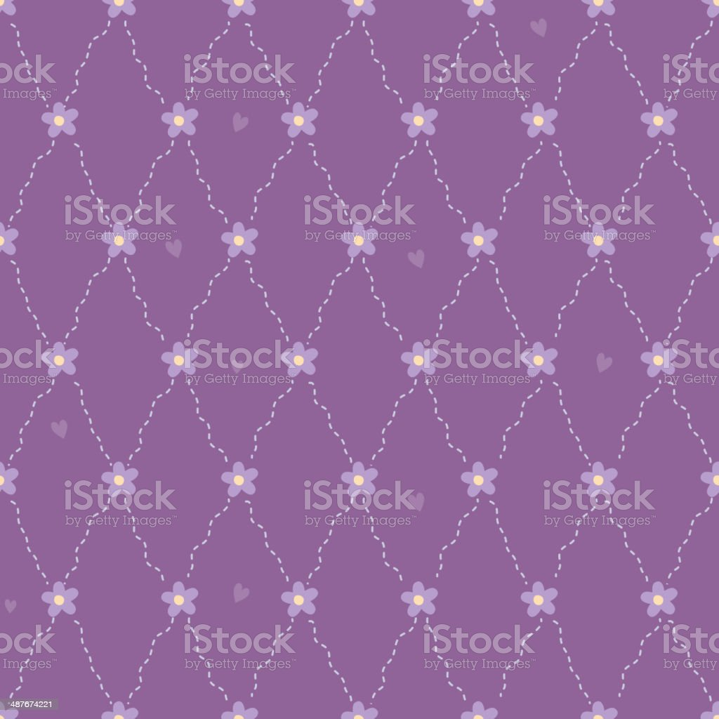 Simple quilted pattern with flowers and hearts - purple back. royalty-free stock vector art