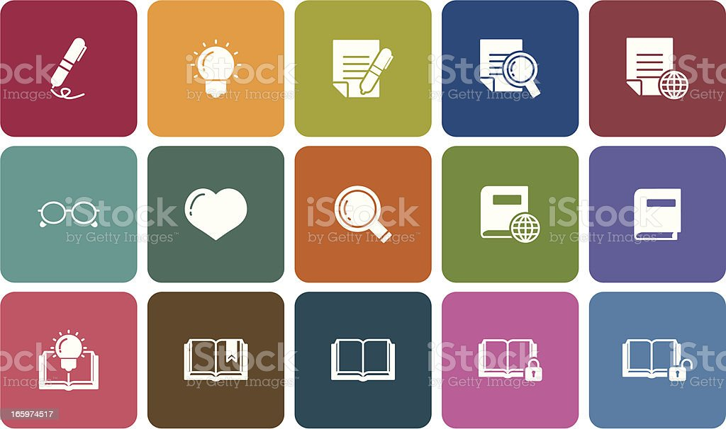 simple reading icons vector art illustration