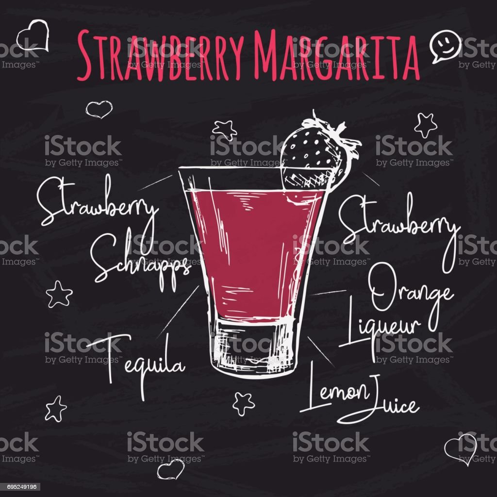 Simple recipe for an alcoholic cocktail Strawberry Margarita. Drawing chalk on a blackboard. Vector illustration of a sketch style. vector art illustration