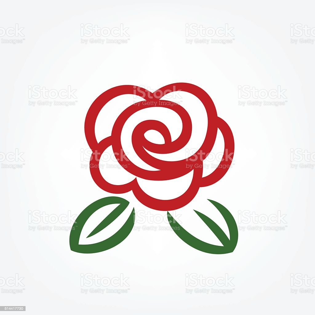 Simple red rose vector art illustration