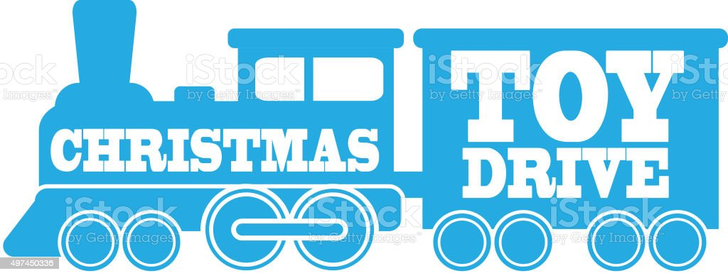 Simple blue Royalty free Train icon  Christmas Toy Drive text vector art illustration