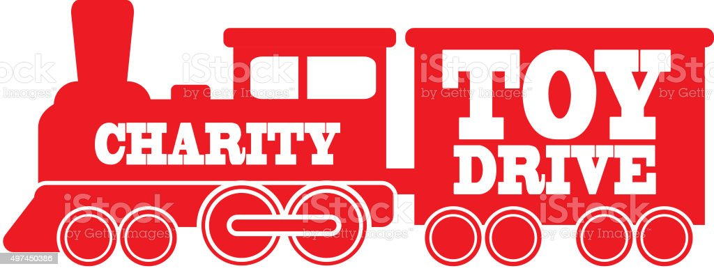 Simple red Royalty free Train icon  Charity Toy Drive text vector art illustration