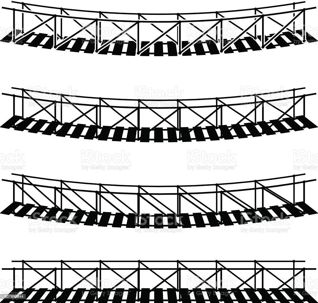 simple rope suspension hanging bridge black symbol vector art illustration