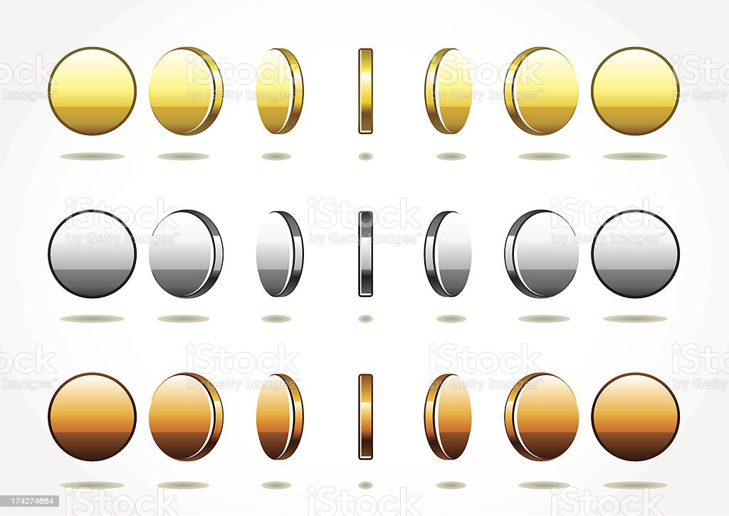 Simple rotational coins vector art illustration