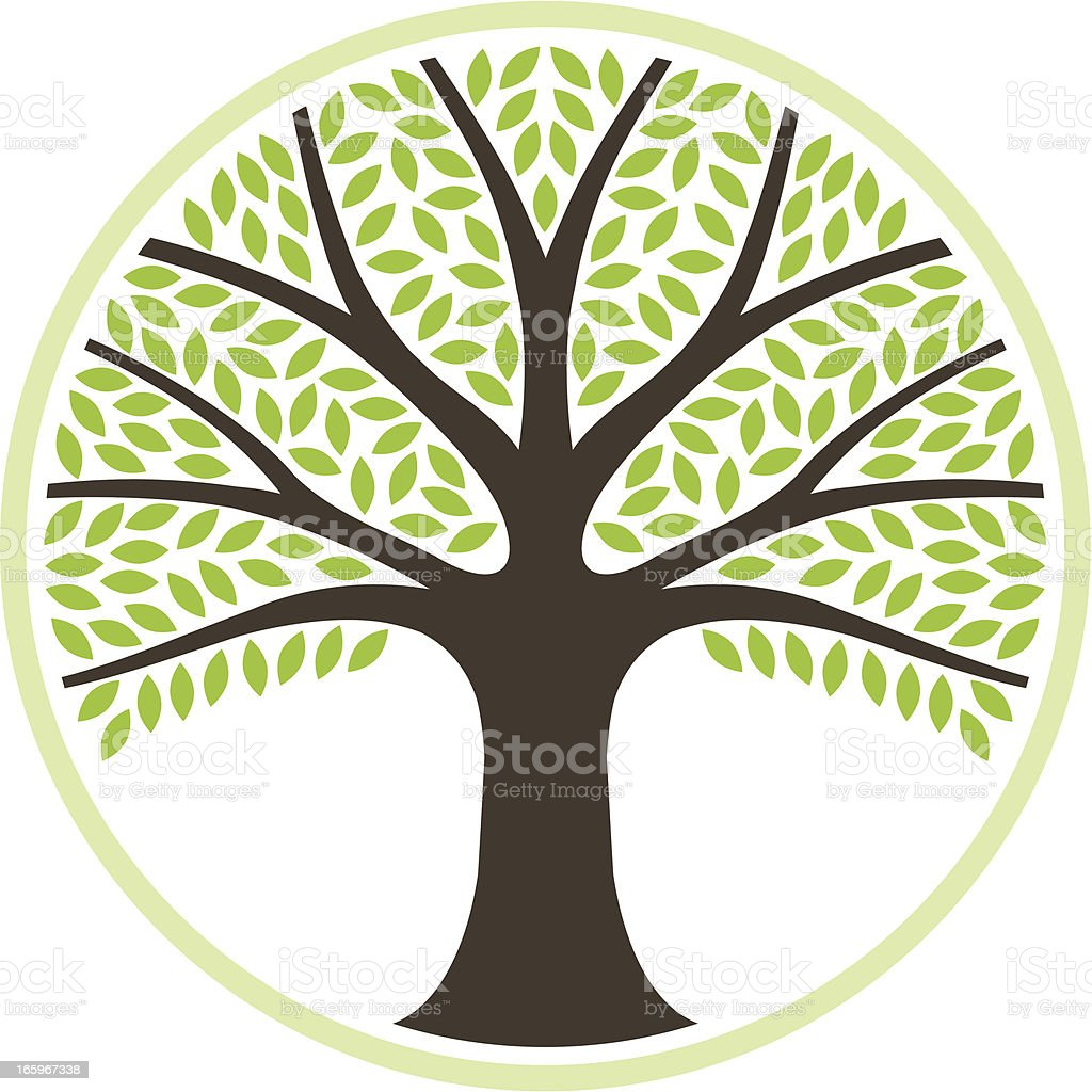 Simple round tree illustration royalty-free stock vector art