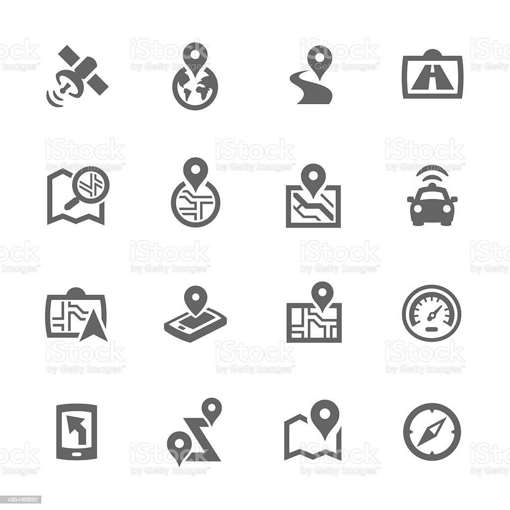 Simple Satellite Navigation Icons vector art illustration