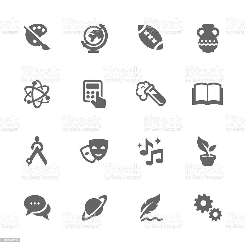 Simple School Subject Icons. vector art illustration