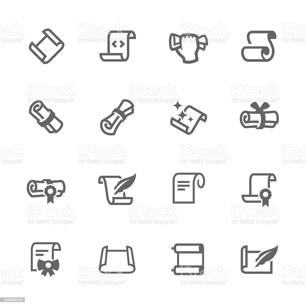 Simple Scrolls and Papers Icons vector art illustration