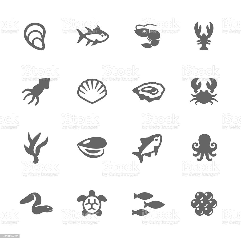 Simple Sea Food Icons vector art illustration