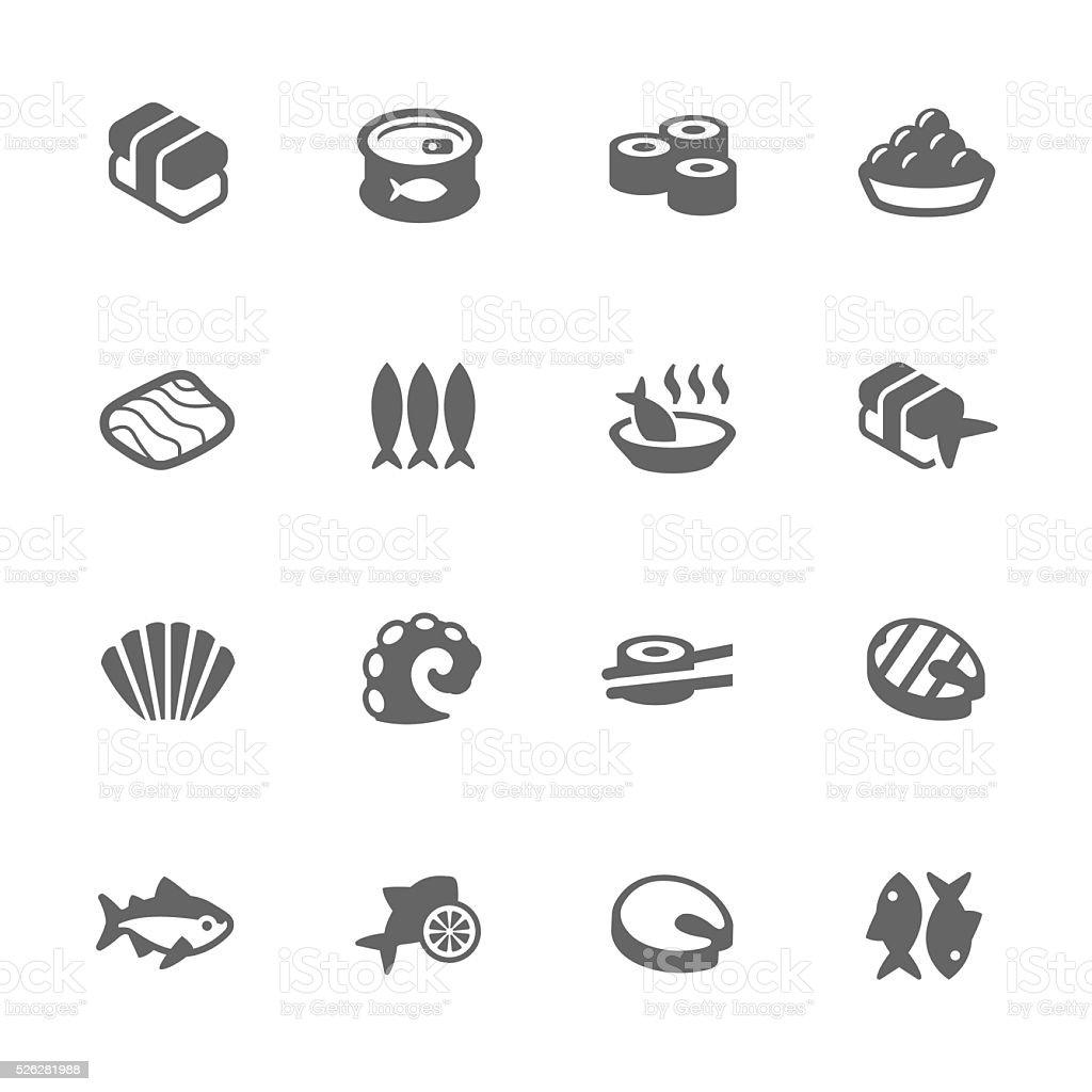 Simple Sea Food Icons vector art illustration