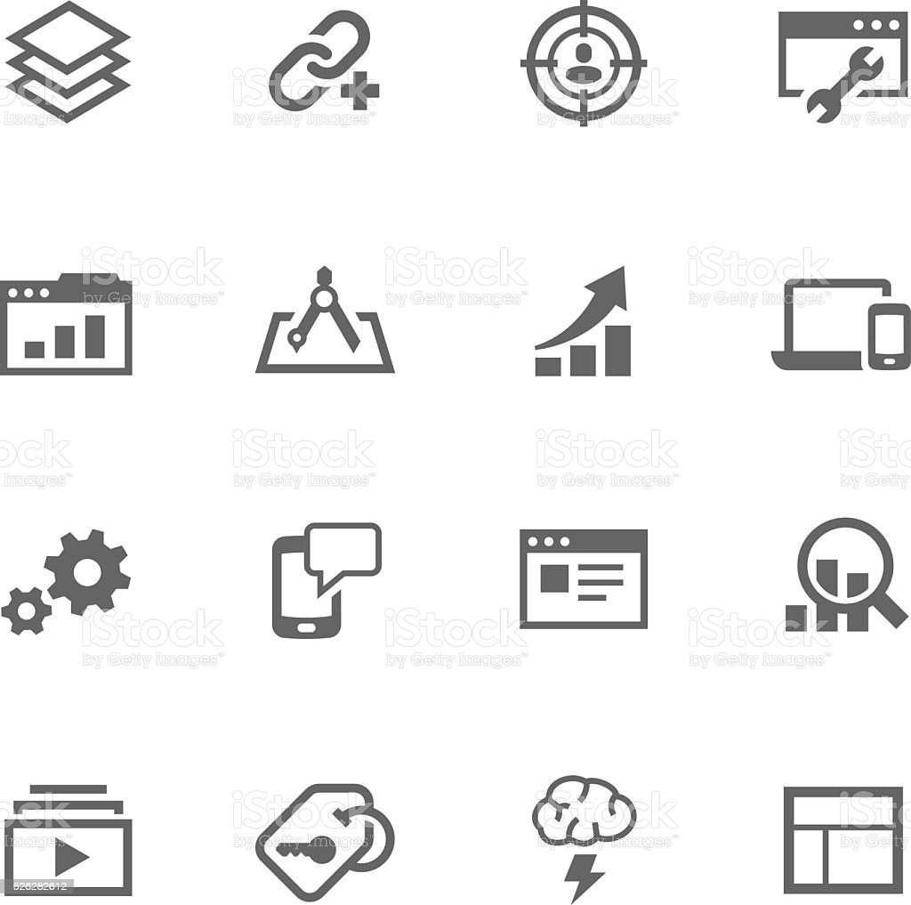 Simple SEO Icons vector art illustration
