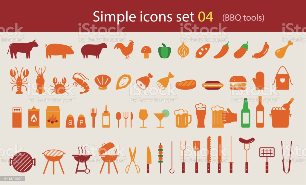 Simple Set of Barbecue Related Vector Flat Icons vector art illustration