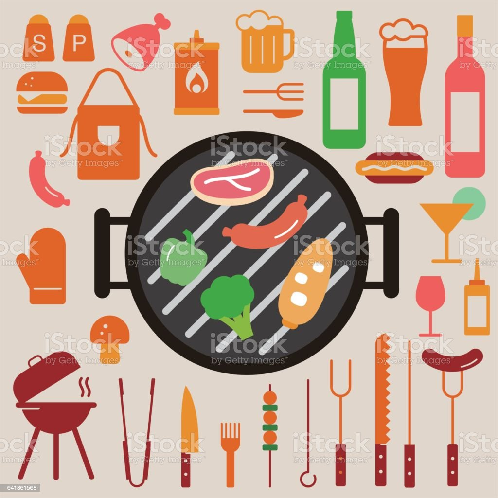 Simple Set of Barbecue utensil  Vector Flat Icons vector art illustration