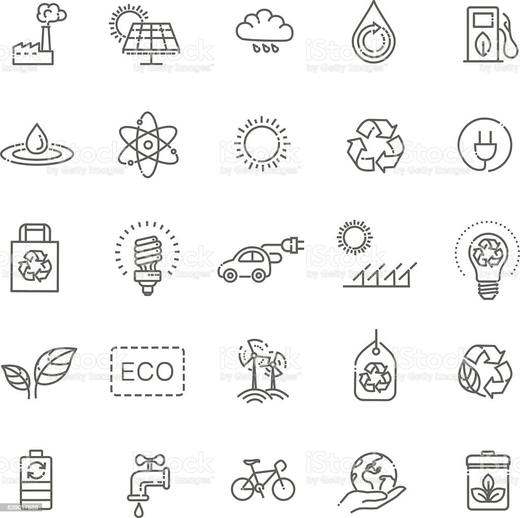 Simple Set of Eco Related Vector Line Icons vector art illustration