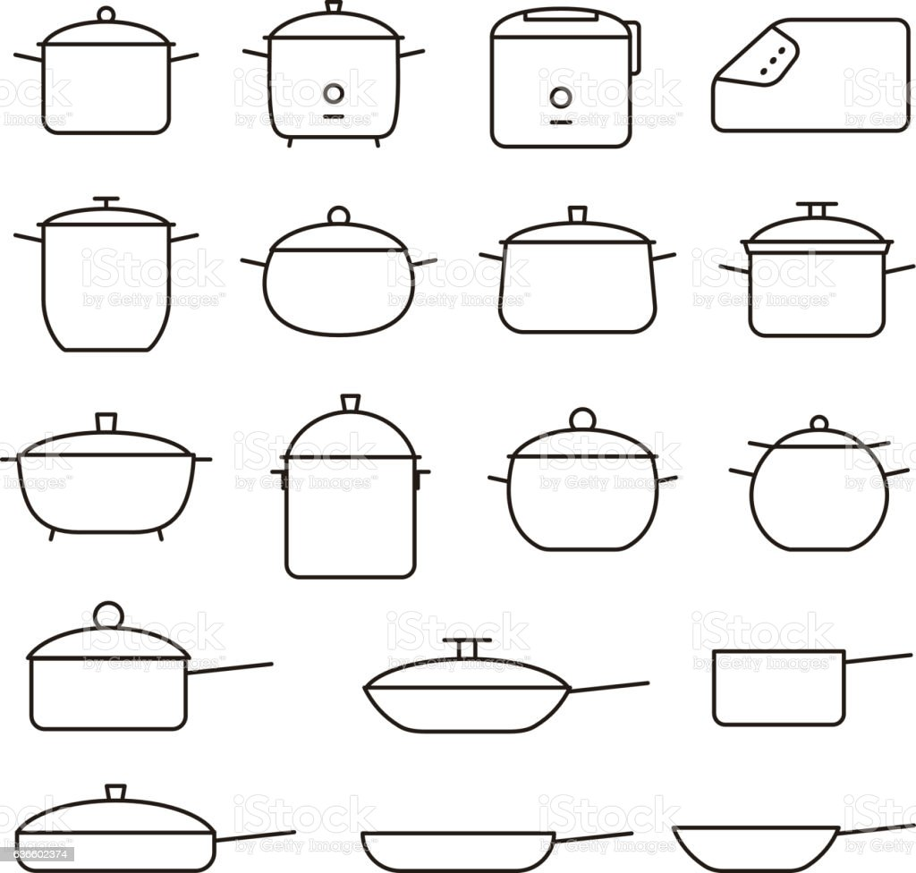 Simple Set of Pans and pots Related Vector Line Icons vector art illustration
