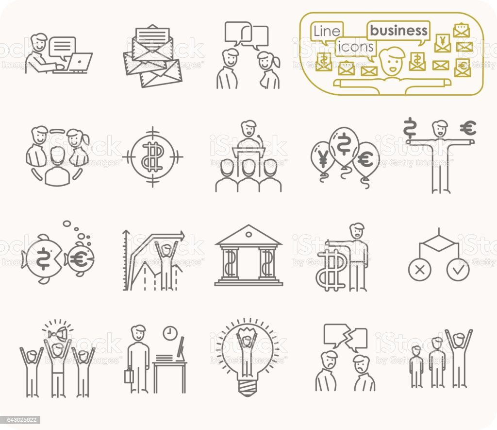 A simple set of vector line icons of business people. vector art illustration