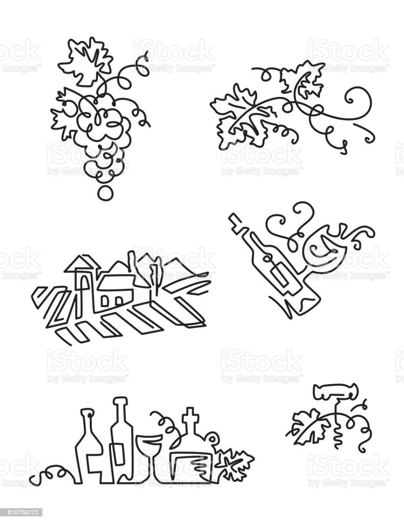Simple Set of Wine Icons. Line art. Includes such Icons as grapes, bottle of wine with label, grape leaves, vineyard. vector art illustration