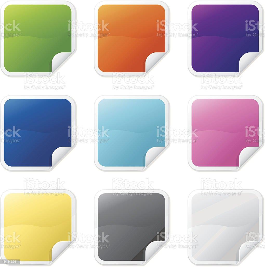 Simple Shiny Folded Stickers royalty-free stock vector art