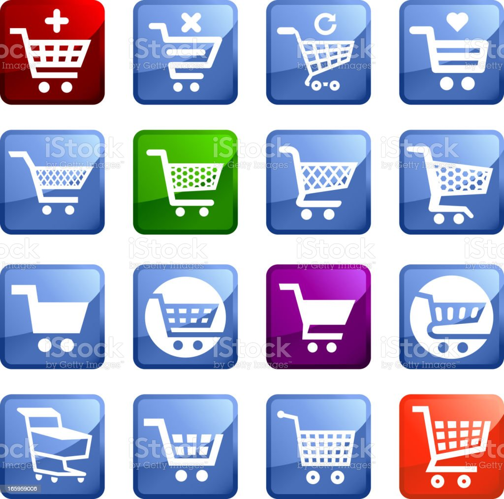 Simple Shopping Cart royalty free vector icon set stickers royalty-free stock vector art