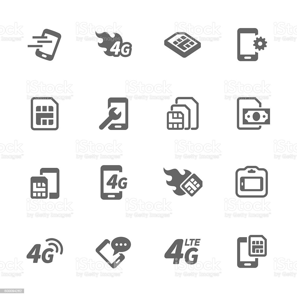 Simple Sim Card Icons vector art illustration