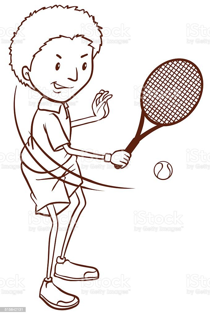 Simple sketch of a boy playing tennis vector art illustration